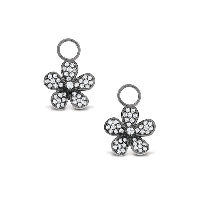MAZZARESE Fashion Diamond Small Floral Earring Charms in 14k White Gold with 82 Diamonds weighing .42ct tw.