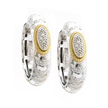 18KT AND STERLING SILVER DIAMOND HOOP EARRINGS