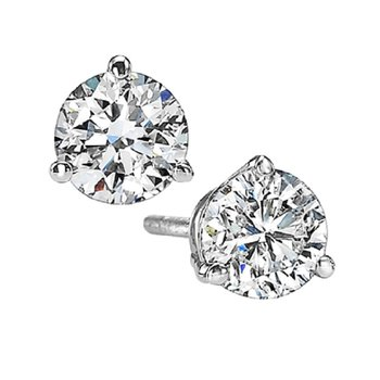 Martini Diamond Stud Earrings in 14K White Gold (1 1/2 ct. tw.) I1 - G/H