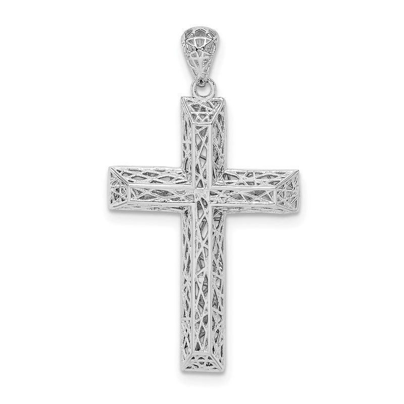 Quality Gold Sterling Silver Rhodium-plated Polished Hollow Cross Pendant
