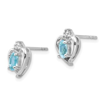 14k White Gold Blue Topaz and Diamond Heart Post Earrings