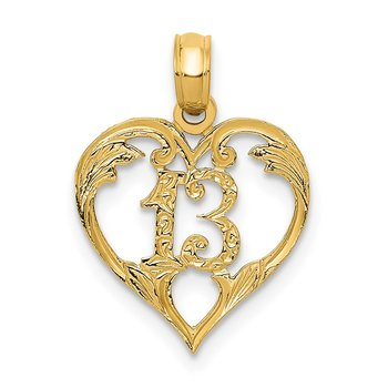 14k 13 in Heart Cut-out Pendant