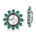 Quality Gold Sterling Silver Rhodium Created Emerald & Black Sapphire Earring Jacket