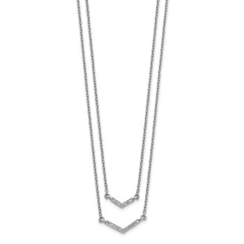 14k White Gold Diamond Double Strand 18 inch Necklace