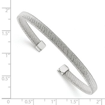 Leslie's Sterling Silver Rhodium-plated Woven Flexible Cuff