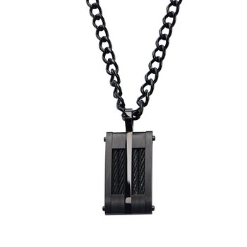 Black Plated & Cable Inlayed Dog Tag Pendant With  Chain