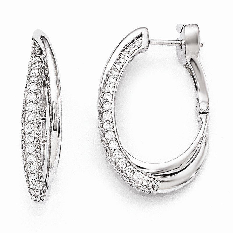 Arizona Diamond Center Collection Sterling Silver Rhodium Plated Polished CZ Hinged Oval Double Hoop Dangle E