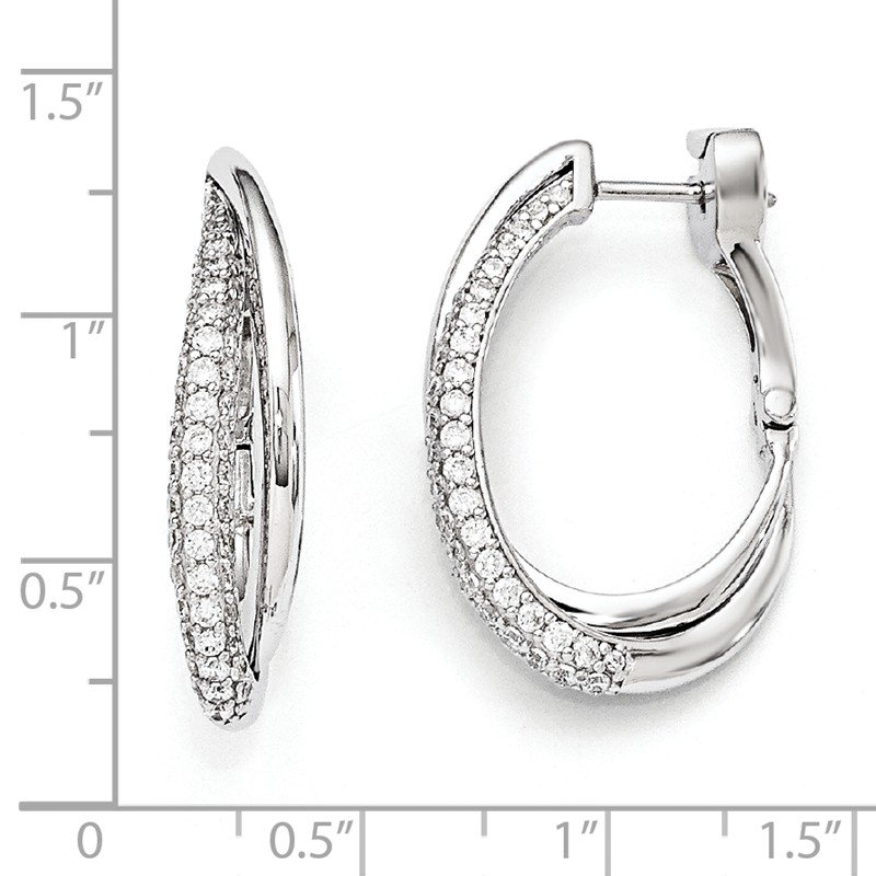 Quality Gold Sterling Silver Rhodium Plated Polished CZ Hinged Oval Double Hoop Dangle E