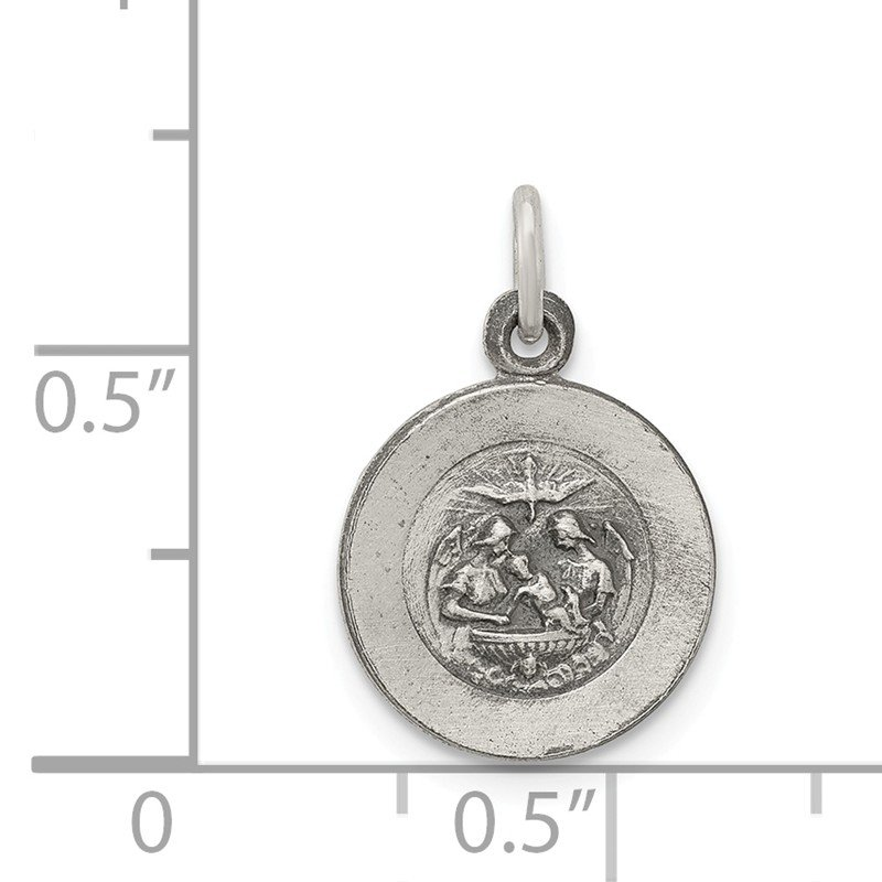 Quality Gold Sterling Silver Antiqued Baptismal Medal