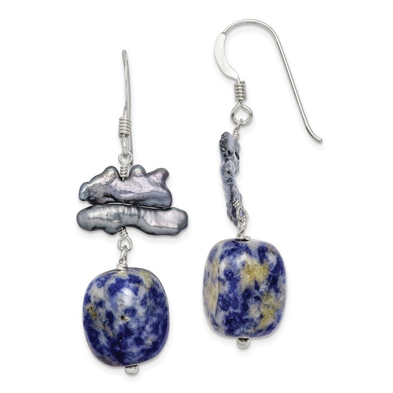 Quality Gold Sterling Silver Sodalite & Grey FW Cultured Pearl Earrings