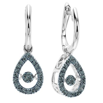 14K Blue & White Diamond Rhythm Of Love Earrings 1/5 ctw
