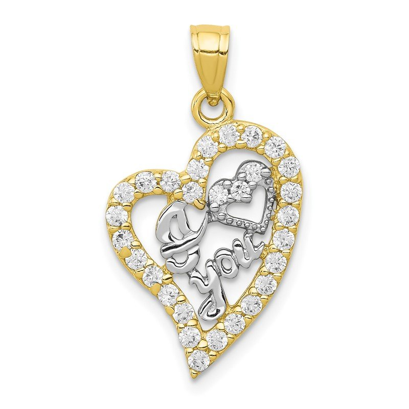 Quality Gold 10K w/Rhodium I LOVE YOU CZ Heart Pendant
