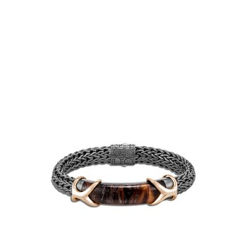 Asli Classic Chain Link 10.5MM Station Bracelet, Blackened Silver, Bronze, Gem