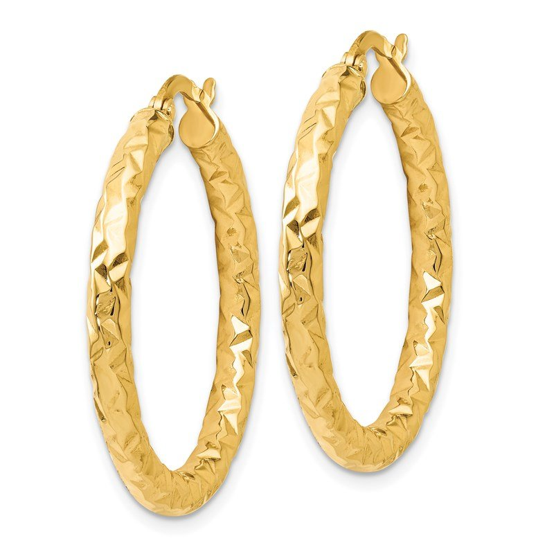 Leslie's Leslie's 14K ForeverLite Polished and Textured Hoop Earrings