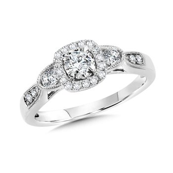 Cushion-Shaped Halo and Round Diamond Engagement Ring