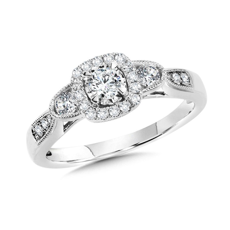 SDC Creations Cushion-Shaped Halo and Round Diamond Engagement Ring