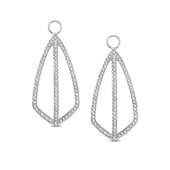 Diamond Fashion Earring Charms in 14k White Gold with 150 Diamonds weighing .62ct tw.