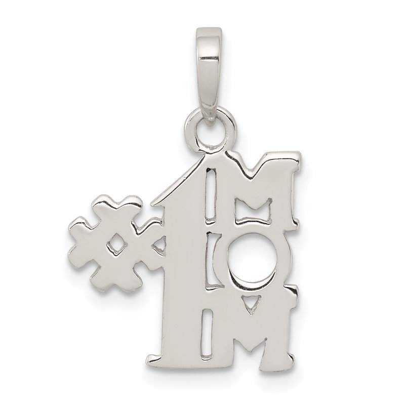 Quality Gold Sterling Silver Polished Number One Mom Pendant