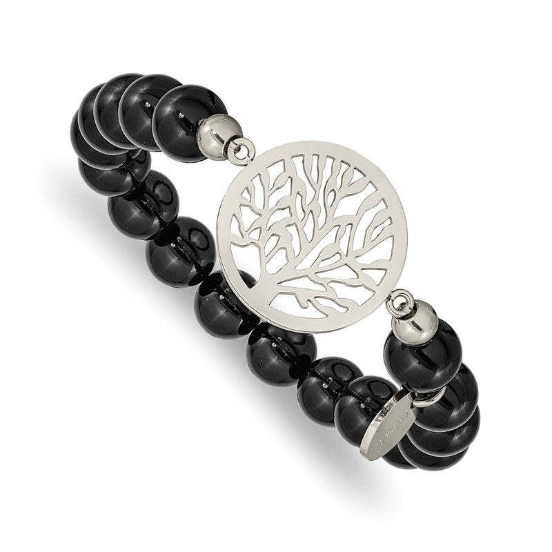 Chisel Stainless Steel Polished Tree of Life Black Agate Beaded Stretch Bracelet
