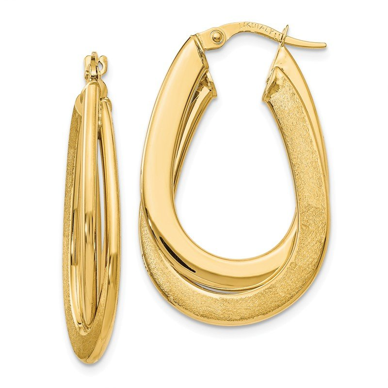 Leslie's Leslie's 14k Polished Scratch-finish Oval Hoop Earrings