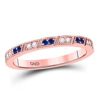 10kt Rose Gold Womens Round Blue Sapphire Diamond Milgrain Stackable Band Ring 1/4 Cttw