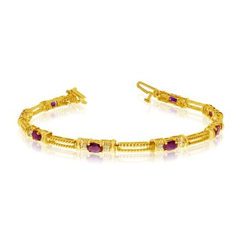 10k Yellow Gold Natural Ruby And Diamond Tennis Bracelet