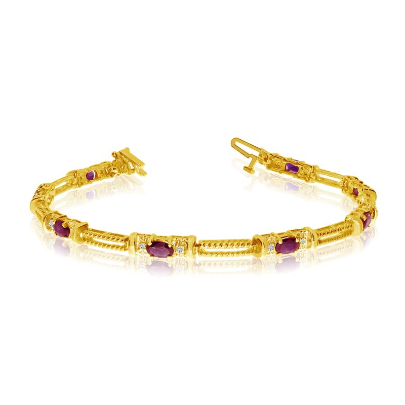 Color Merchants 10k Yellow Gold Natural Ruby And Diamond Tennis Bracelet