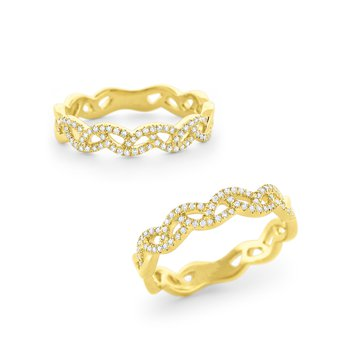 Diamond Weave Band Set in 14kt. Gold