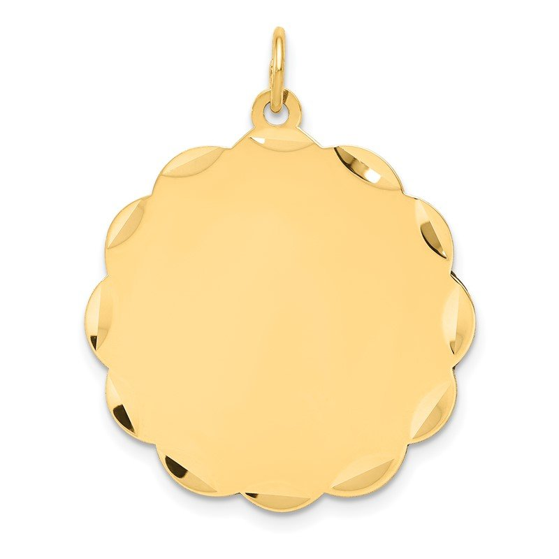 Quality Gold 14k .035 Gauge Engravable Scalloped Disc Charm