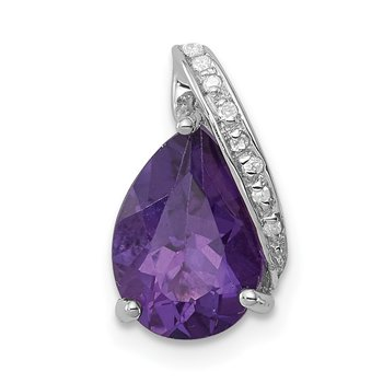 Sterling Silver Rhodium Pear Amethyst Chain Slide