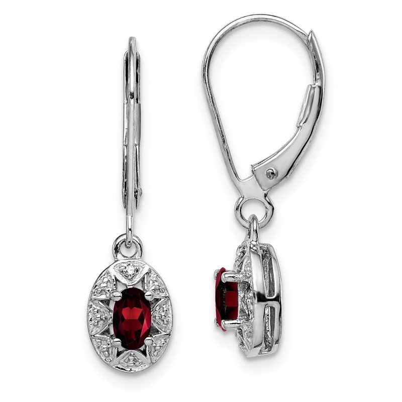 Quality Gold Sterling Silver Rhodium-plated Diam. & Garnet Earrings