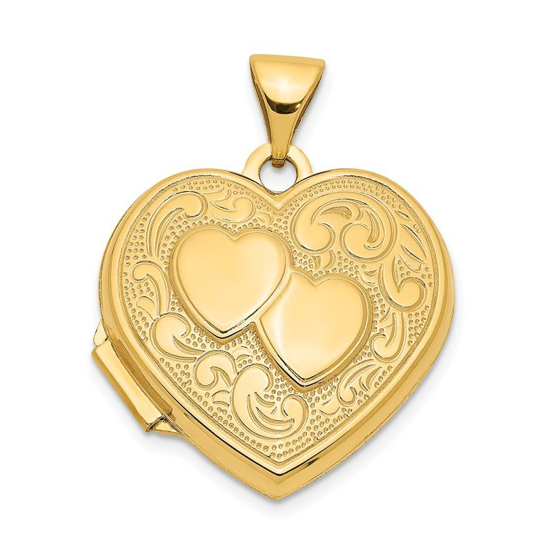 Quality Gold 14k Double Heart Locket