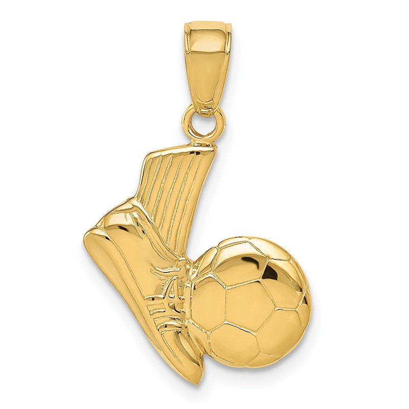Quality Gold 14K Solid Open-Backed Soccer Shoe and Ball Pendant
