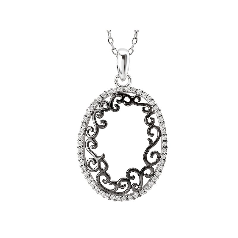 Tesoro Two Tone Oval Diamond Pendant