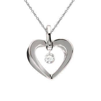 10k White Gold .10 ct Dashing Diamonds Heart Pendant