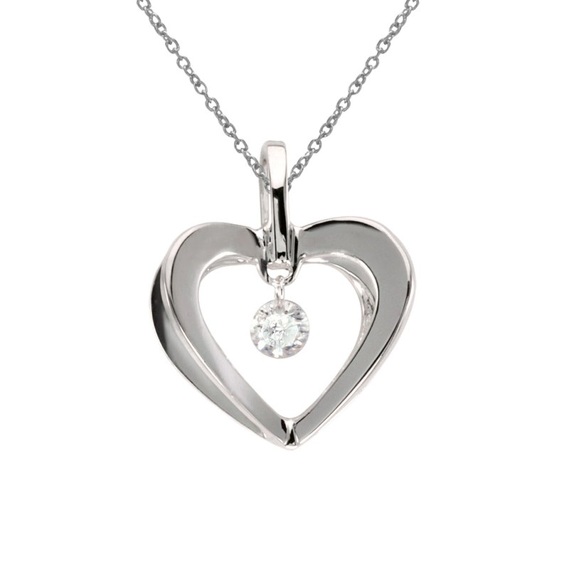 Color Merchants 10k White Gold .10 ct Dashing Diamonds Heart Pendant