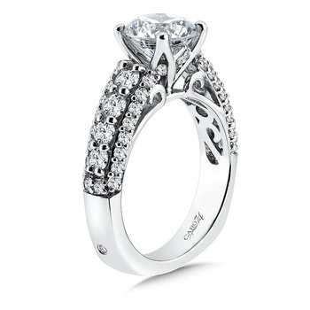 CARO 74 Engagement Ring With Diamond Side Stones in 14K White Gold with Platinum Head (2ct. tw.)