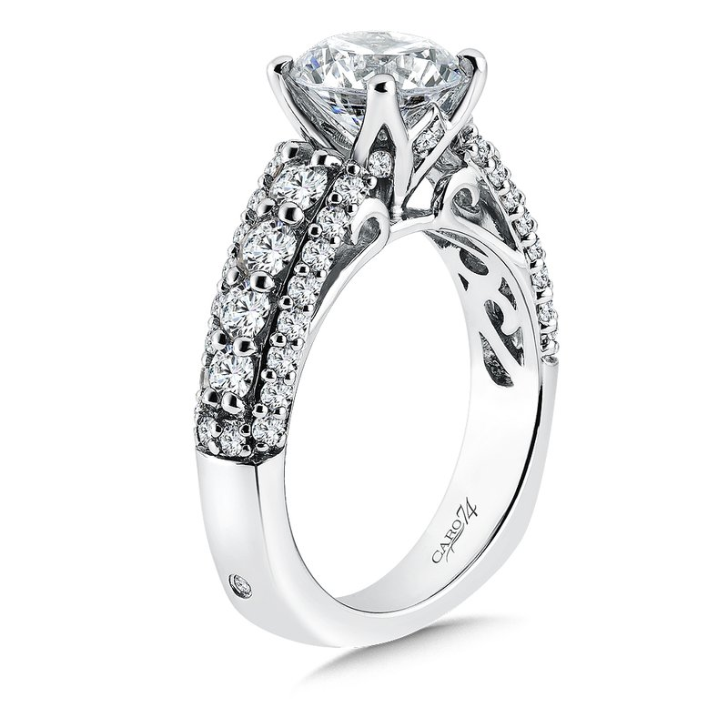 Caro74 CARO 74 Engagement Ring With Diamond Side Stones in 14K White Gold with Platinum Head (2ct. tw.)