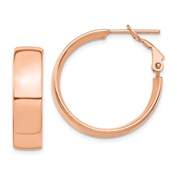 14k Rose Gold High Polished 7mm Omega Back Hoop Earrings
