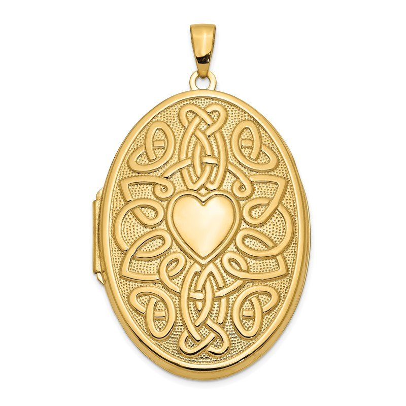 Quality Gold 14k Celtic Heart 38mm Oval Locket