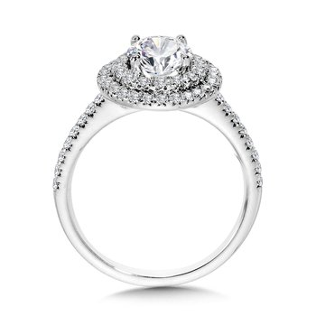 Straight Double-Halo Engagement Ring