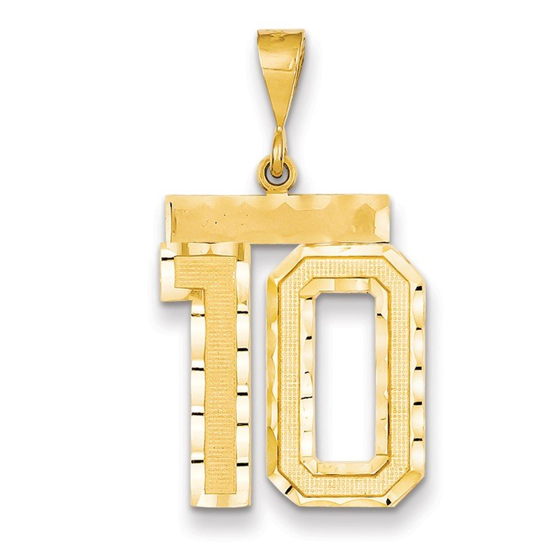 Quality Gold 14k Large Diamond-cut Number 10 Charm