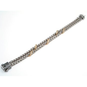 18kt and Sterling Silver Wheat Link Diamond Bracelet