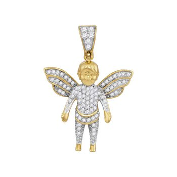 10kt Yellow Gold Mens Round Diamond Guardian Angel Charm Pendant 1/3 Cttw
