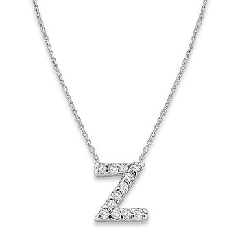 "Diamond Baby Typewriter Initial ""Z"" Necklace in 14k White Gold with 12 Diamonds weighing .07ct tw."