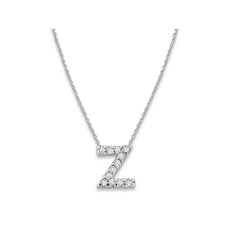 "KC Designs Diamond Baby Typewriter Initial ""Z"" Necklace in 14k White Gold with 12 Diamonds weighing .07ct tw."