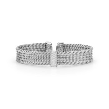 Grey Cable Mini Cuff with 18kt White Gold & Diamonds