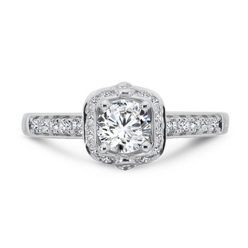 Halo Engagement Ring in 14K White Gold with Platinum Head (1/2ct. tw.)