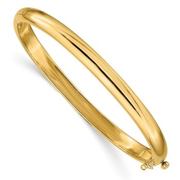14k 5.6mm Polished Solid Hinged Bangle Bracelet