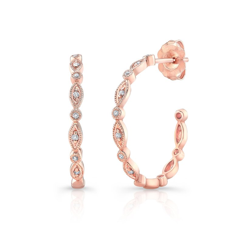Rose Gold 3/4 Inch Milgrain Hoops